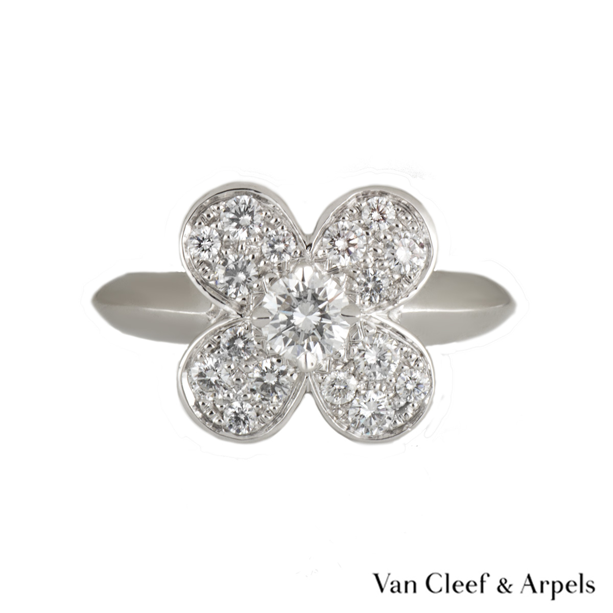 Van Cleef & Arpels 18k White Gold Diamond Set Alhambra Ring Size 49